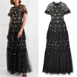 Needle and Thread Black sequin gown Size 4